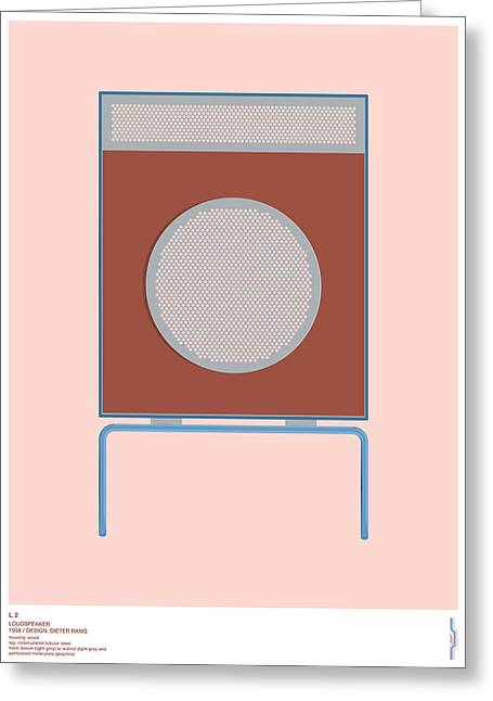 Braun L2 Loudspeaker - Dieter Rams Greeting Card by Peter Cassidy