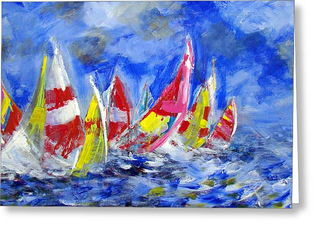 Braving The Heavy Winds Greeting Card by Walter Fahmy