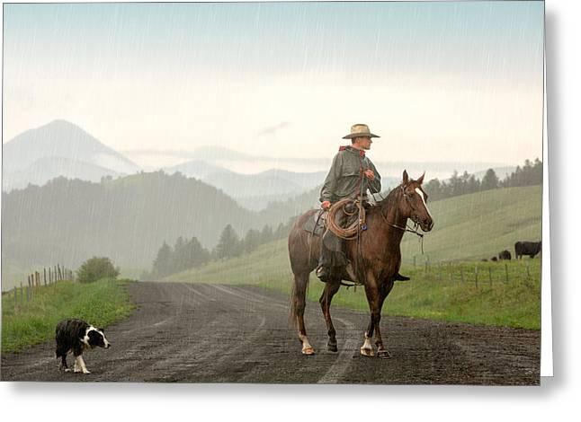 Braving The Rain Greeting Card by Todd Klassy