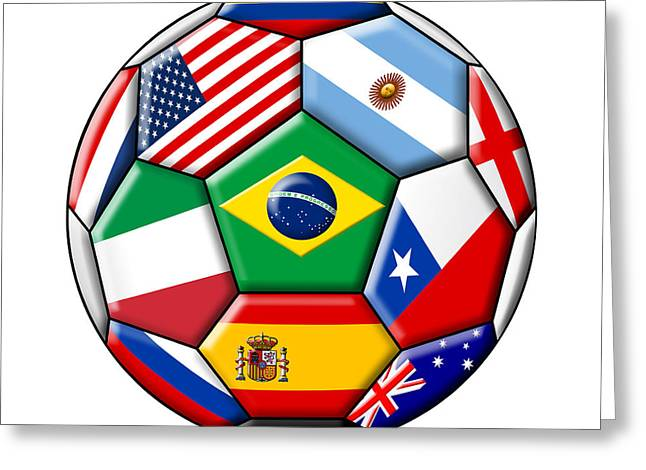 Brazil 2014 - Soccer With Various Flags Greeting Card