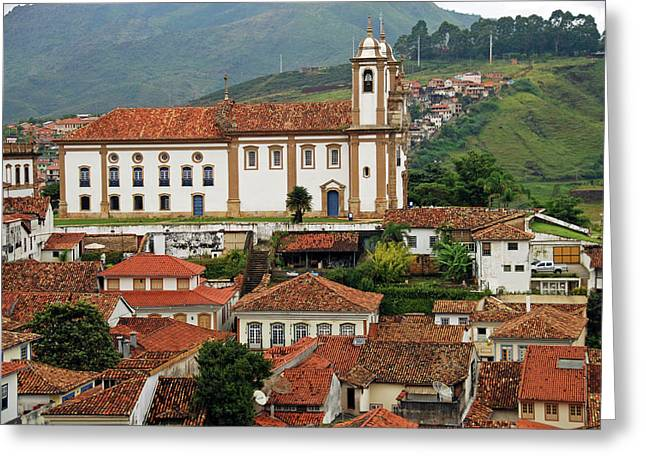 Brazil, Minas Gerais, Ouro Preto, View Greeting Card by Anthony Asael
