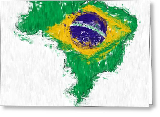 Brazil Painted Flag Map Greeting Card by Antony McAulay