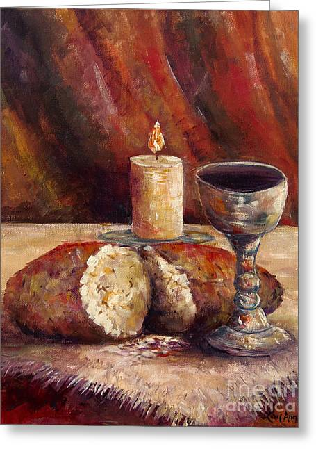 Bread And Wine Greeting Card by Lou Ann Bagnall