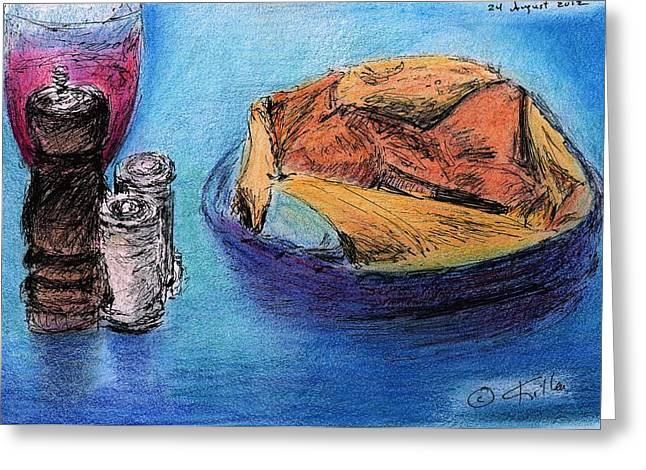 Bread And Wine Greeting Card