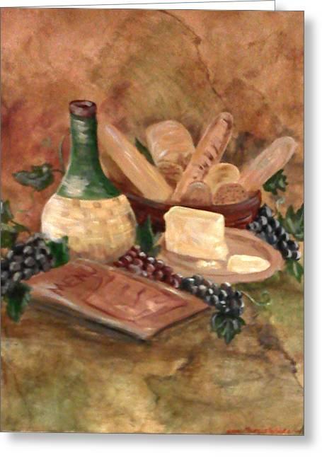 Bread N Wine Greeting Card