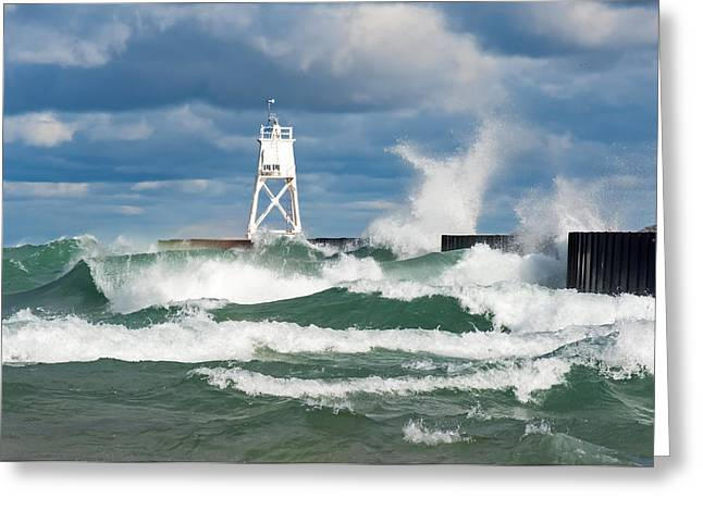 Break Wall Waves Greeting Card