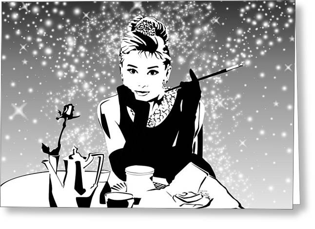 Breakfast At Tiffany's Bw Greeting Card by Ryan Burton