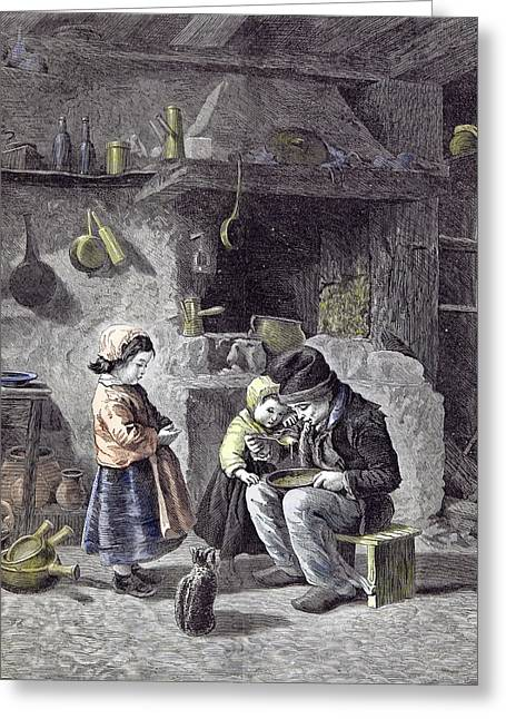 Breakfast Children Kitchen Cat 1877  Children Pots Pans Greeting Card by English School