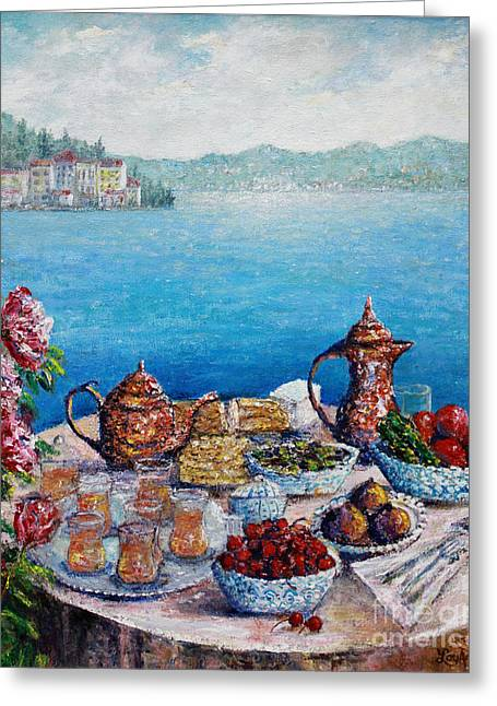 Breakfast In Istanbul Greeting Card by Lou Ann Bagnall
