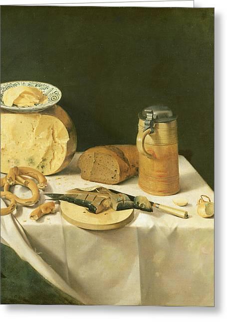 Breakfast Still Life Oil On Canvas Greeting Card by Johann Georg Hinz