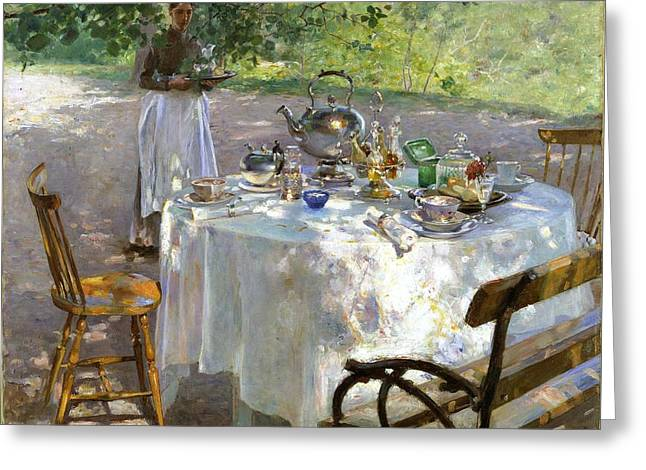 Greeting Card featuring the painting Breakfast Time by Hanna Pauli