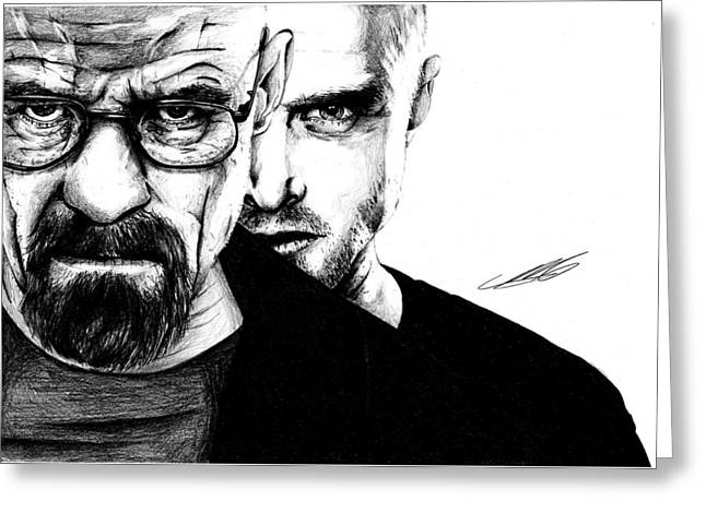 Breaking Bad Walter White And Jesse Pinkman Greeting Card by Mike Sarda