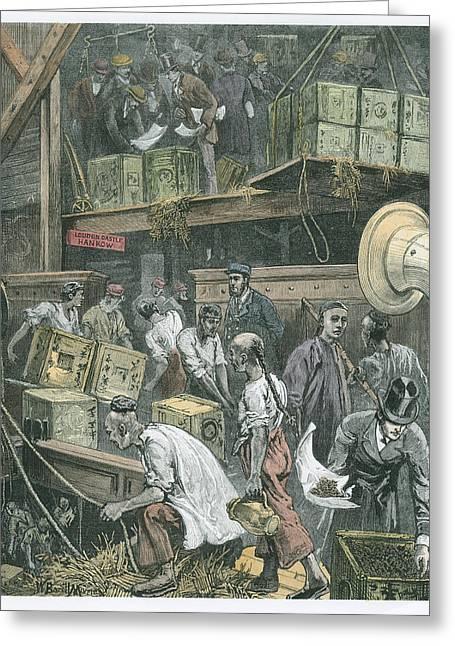 Breaking Bulk On Board A Tea Ship Greeting Card by William Bazett Murray
