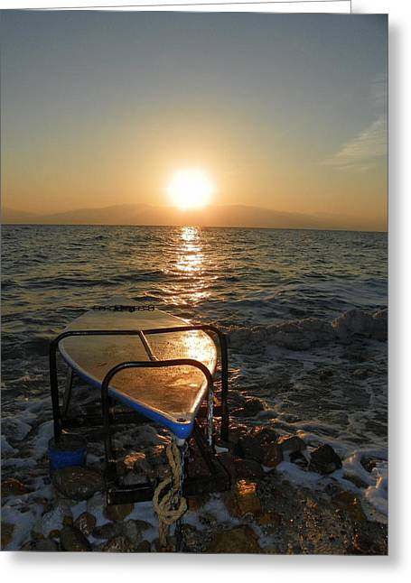Breaking Dawn At The Dead Sea Greeting Card by Noreen HaCohen