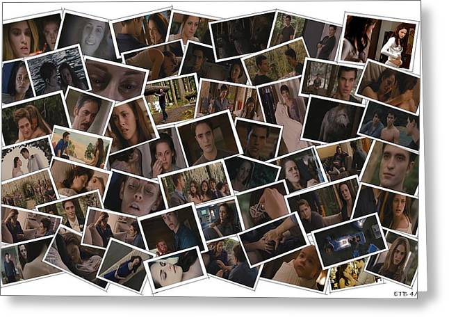 Breaking Dawn Part 1 Pile Of Pics Greeting Card by Lizzie B