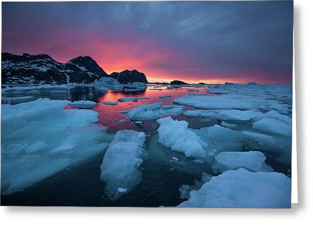 Breaking Ice At Sunrise Greeting Card
