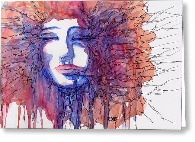 Greeting Card featuring the painting Breaking Out Loud by Rebecca Davis