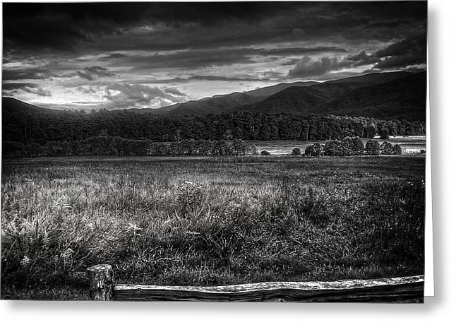 Breaking Sun In Cades Cove In Black And White Greeting Card by Greg and Chrystal Mimbs