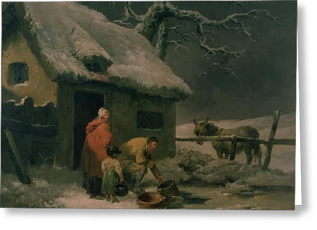 Breaking The Ice Greeting Card by George Morland