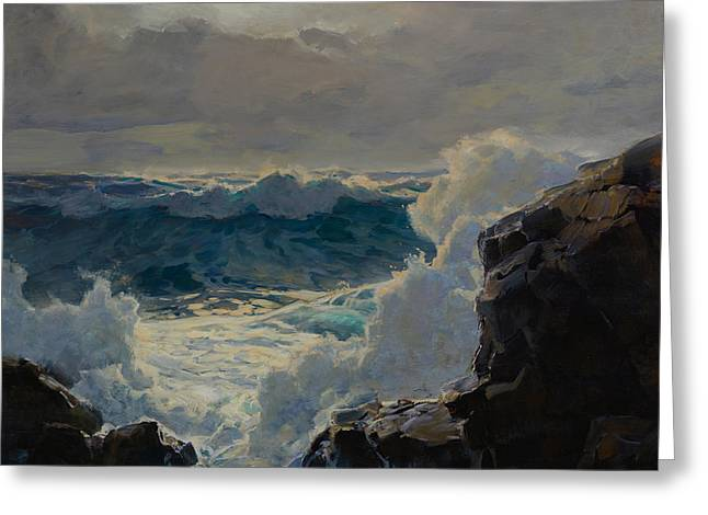 Breaking Waves Greeting Card by Frederick Judd Waugh