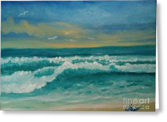 Greeting Card featuring the painting Breaking Waves by Holly Martinson