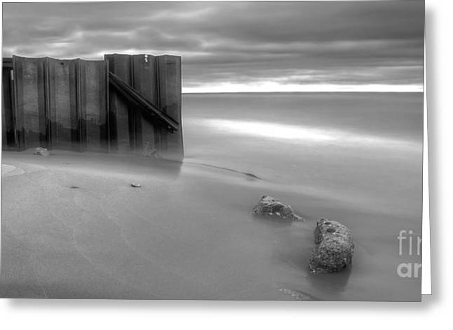 Breakwall In Lake Michigan Greeting Card by Twenty Two North Photography