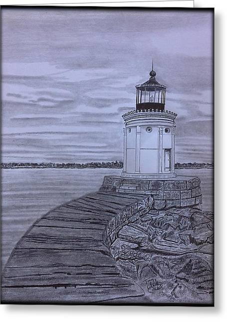 Breakwater Bug Lighthouse Greeting Card by Tony Clark