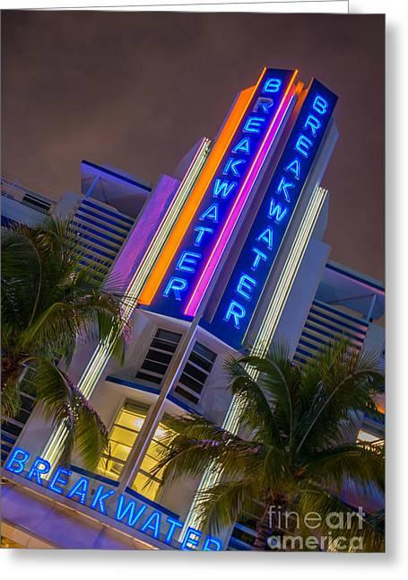 Breakwater Hotel Art Deco District Sobe Miami Greeting Card by Ian Monk