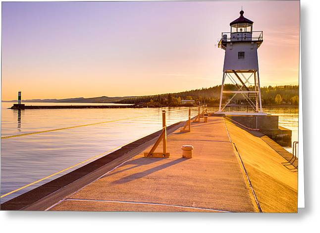 Greeting Card featuring the photograph Breakwater Lights Redux by Adam Mateo Fierro