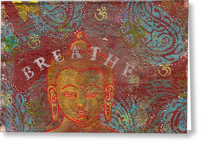 Breathe Buddha Greeting Card by Jennifer Mazzucco