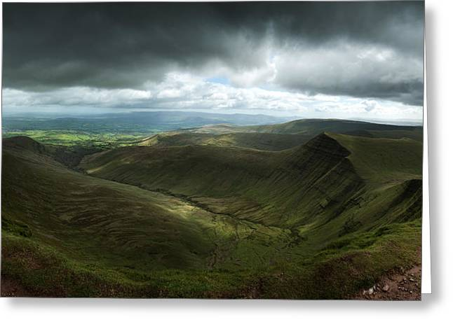 Brecon Beacons Landscape Panorama View Of Cribyn From Pen-y-fan Greeting Card by Matthew Gibson
