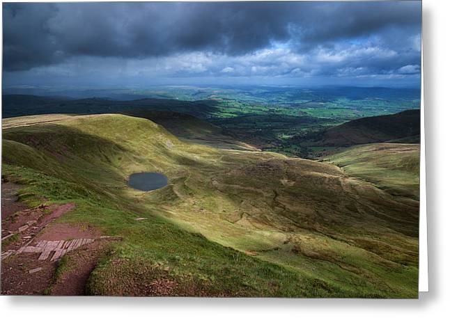 Brecon Beacons Landscape View From Top Of Corn Du Greeting Card by Matthew Gibson