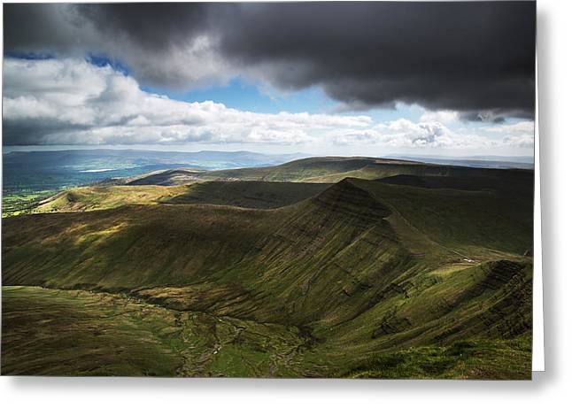 Brecon Beacons Landscape View Of Cribyn From Pen-y-fan Greeting Card by Matthew Gibson