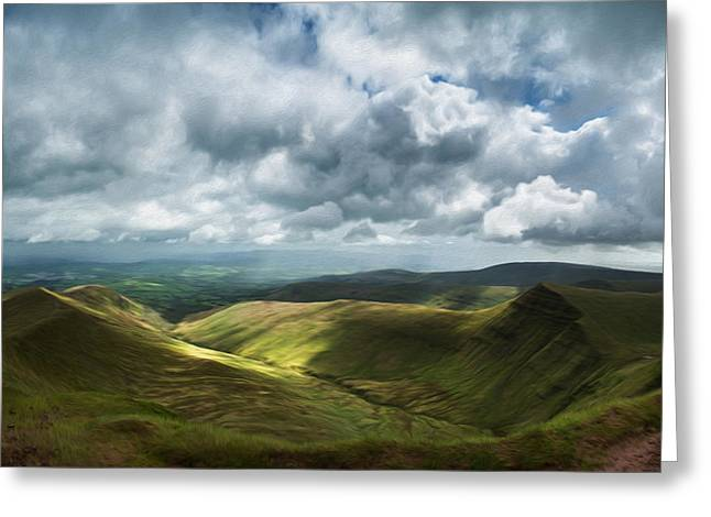 Brecon Beacons Panorama Landscape Digital Painting Greeting Card by Matthew Gibson
