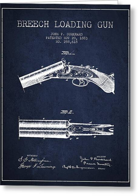 Breech Loading Gun Patent Drawing From 1883 - Navy Blue Greeting Card by Aged Pixel