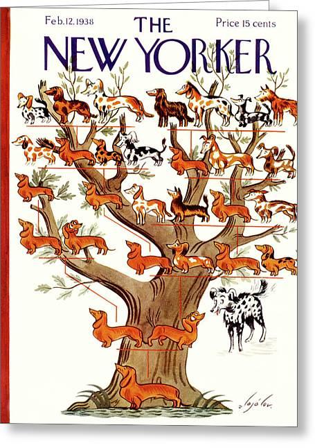 Breeds Tree Greeting Card by Constantin Alajalov