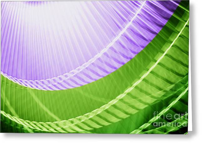 Breeze X - Purple Lime Green Abstract Greeting Card by Natalie Kinnear