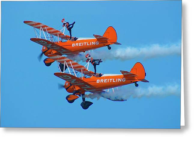 Breiting Wingwalkers Greeting Card by Mark Williamson