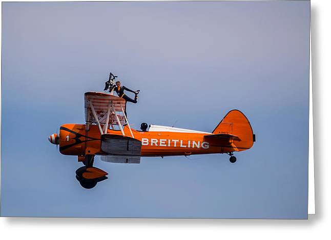 Greeting Card featuring the photograph Breitling Wingwalker Cockpit Stand by Scott Lyons