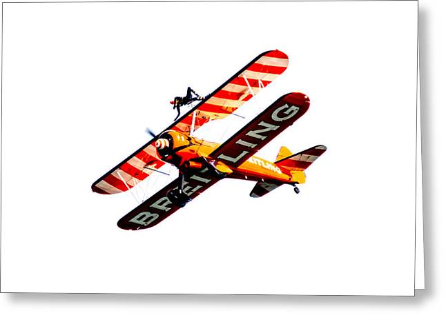 Greeting Card featuring the photograph Breitling Wingwalker High Contrast Sunderland Air Show 2014 by Scott Lyons