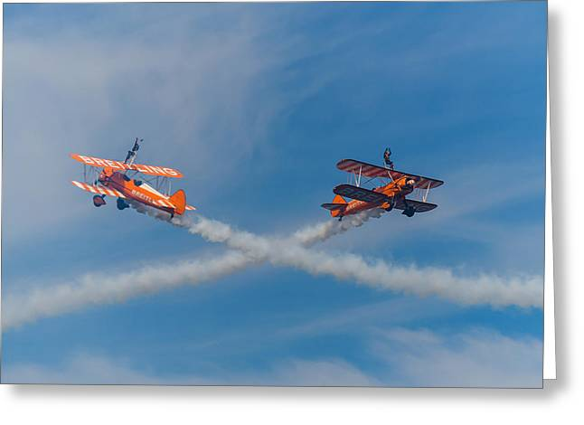 Greeting Card featuring the photograph Breitling Wingwalkers Cross Sunderland 2014 by Scott Lyons