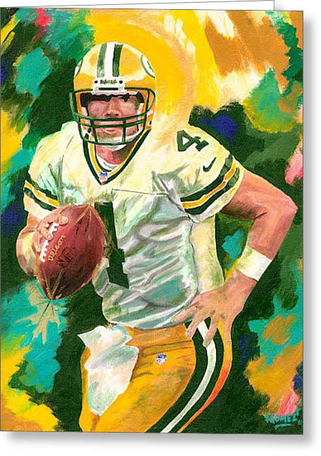 Bret Favre Greeting Card by Jeff Gomez