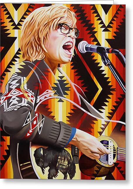 Greeting Card featuring the painting Brett Dennen by Joshua Morton