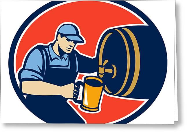Brewer Bartender Pour Beer Pitcher Barrel Retro Greeting Card