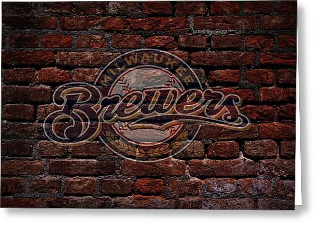 Brewers Baseball Graffiti On Brick  Greeting Card