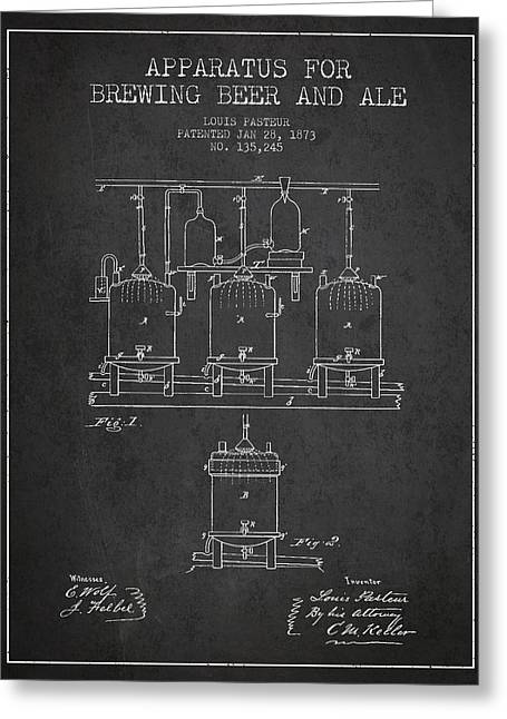 Brewing Beer And Ale Apparatus Patent Drawing From 1873 - Dark Greeting Card by Aged Pixel