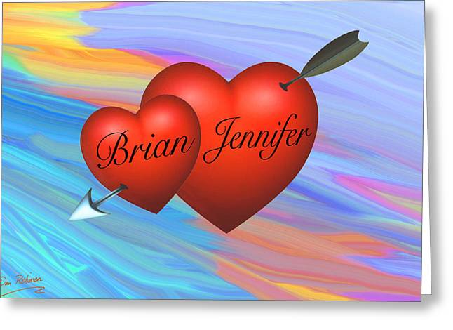 Brian Loves Jennifer Greeting Card by Dan Robinson