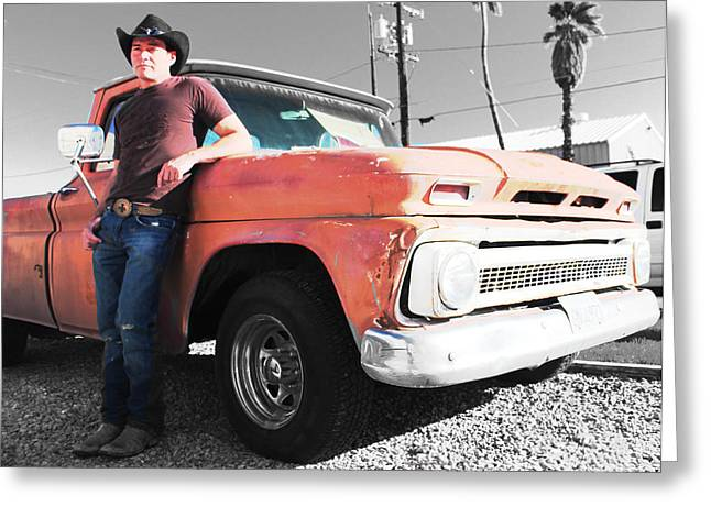 Brian Shotwell And A Truck Greeting Card by Carolina Liechtenstein