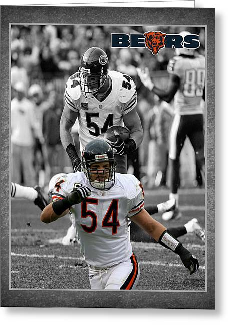 Brian Urlacher Bears Greeting Card by Joe Hamilton