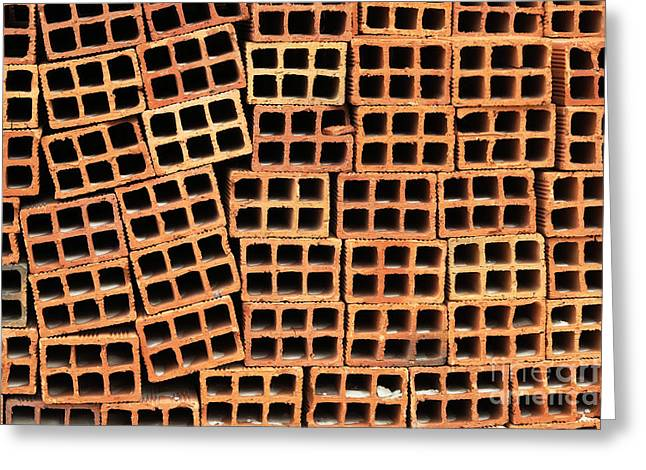 Brick Abstract Greeting Card by Vivian Christopher